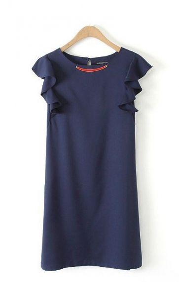 O-neck Short Falbala Sleeves Shift Dress
