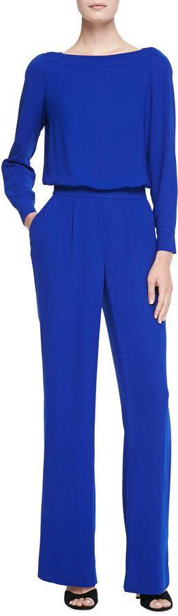 Diane von Furstenberg Long-Sleeve Blouson-Top Jumpsuit - click the link for product details :)