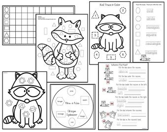 Kissing Hand Activities: Raccoon-themed shape games & worksheets.  Perfect review after reading The Kissing Hand story.
