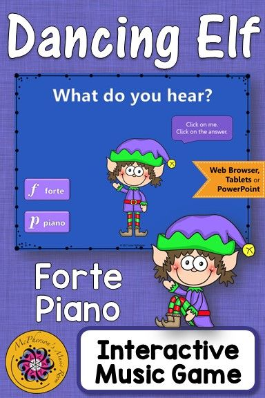 Christmas Music Game! Your elementary music students will LOVE this music lesson! Fun interactive music game to reinforce dynamics (forte/piano). #elmused #musiced #musicgames