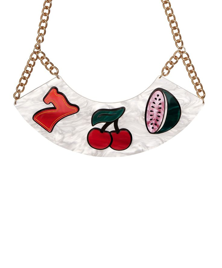 Fruit Machine Necklace - Hit the jackpot with the Fruit Machine Necklace. Classic slot machine icons embellish a pearlescent cream bib, hand linked to a chunky golden chain. Wear with your favourite LBD for a winning, statement look.