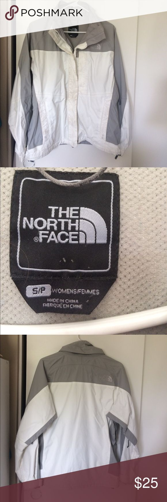 The North Face white winter coat. Size S Hard shell winter coat in white/gray. Two Full zippers. No hood. Slightly worn, easy to clean. Side vents for skiing or hiking. Size Small. The North Face Jackets & Coats