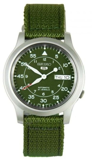 Seiko 5 Automatic SNK805 Green Dial Green Canvas Band Mens Watch