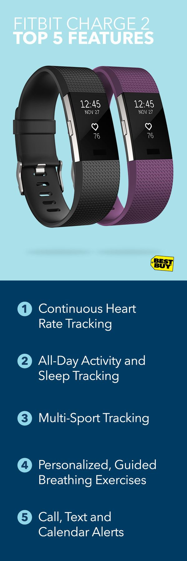 Whether you're running, biking or at the gym, you can push your fitness to the next level with the new Fitbit Charge 2. The larger display lets you take in stats mid-workout without slowing down. Hitting the weights or pounding pavement, the Charge 2 tracks heart rate, monitors your sleep and features on-device breathing exercises. Find it at Best Buy today.