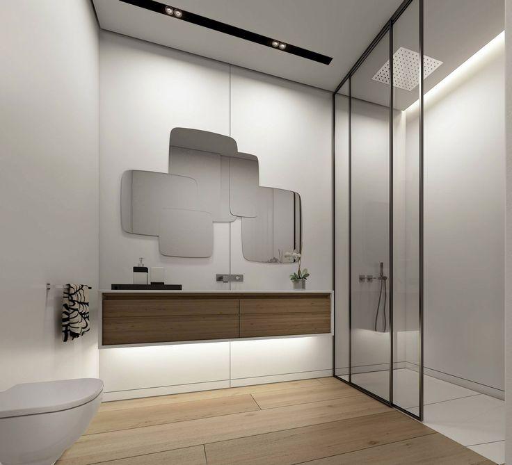 Oglindă cu formă suprapusă, pentru baie.