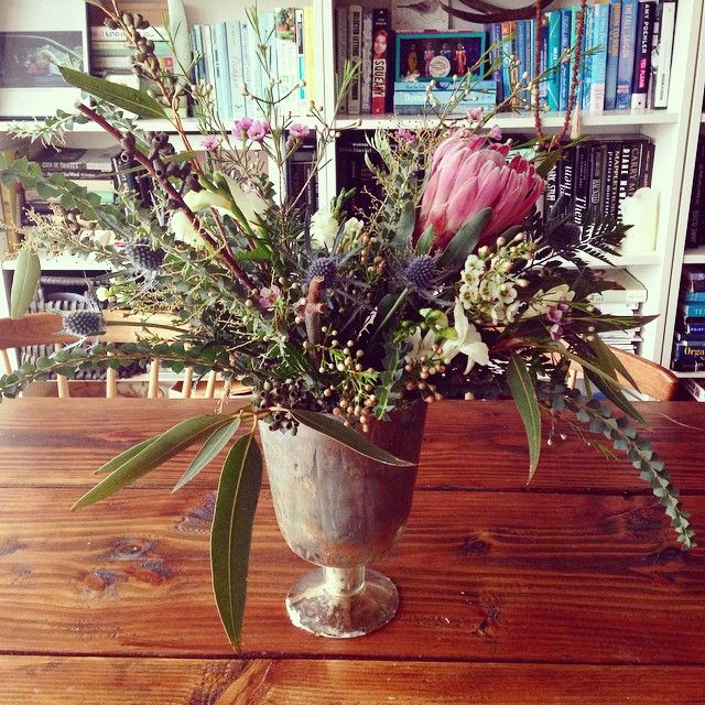 #stonefoxflowers in my home! Protea, freesia, blue thistle, eucalyptus, wax flowers and wild greens...