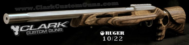 """Latest Clark Custom Ruger 10/22 Rifle Build -  .920"""" Bull Fluted Stainless Lothar Walther Match Barrel with Brown Laminated Thumbhole Fingergroove stock"""