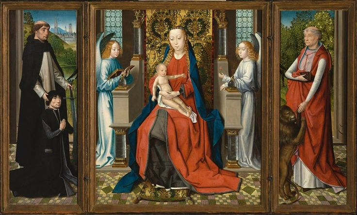 Master of the St. Lucy Legend - Triptych of Madonna and Child with Angels; Donor and His Patron Saint Peter Martyr; and Saint Jerome.