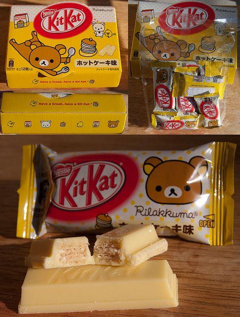 Rilakkuma hotcakes (maple and butter) flavour Kit Kat, Japan. by kalvin1974, via Flickr