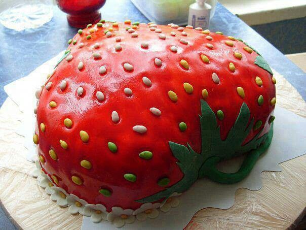 Strawberry shaped cake Birthday parties Pinterest ...