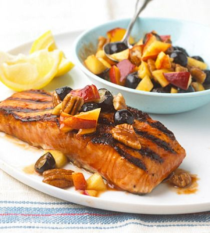 barbeque salmon: Barbecue Sauce, Grilled Salmon, Barbecued Salmon, Fresh Nectarine, Food, Salsa Recipe, Salmon Recipes