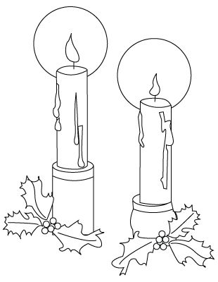 Christmas candles drawing to color