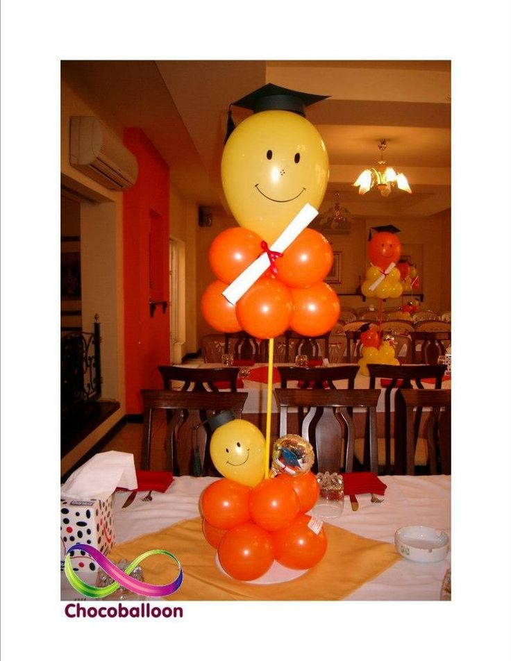 Centre piece balloon decoration for graduation party  by Chocoballoon
