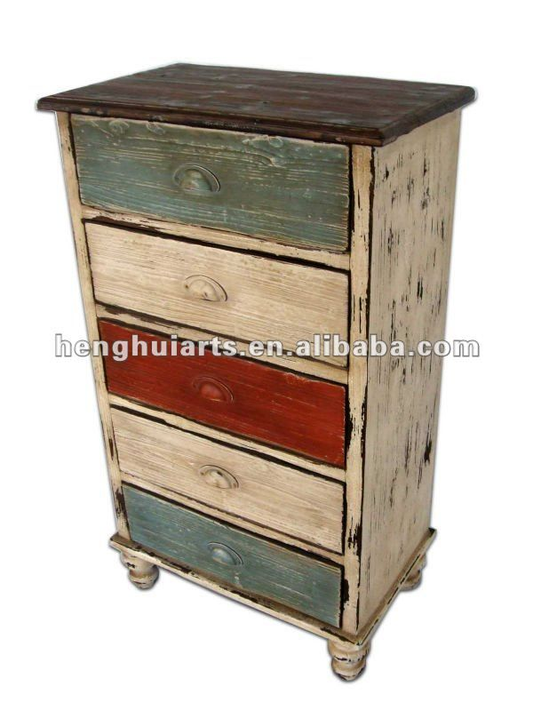 I like the color treatment for this refurbished piece. Alternate drawer fronts with different, coordinating colors.