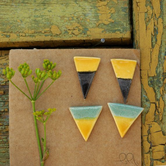 FREE SHIPPING! two-tone ceramic earings, triangle stud earings, hand formed, geometric shape, mustard yellow and mint, mustard and charcoal