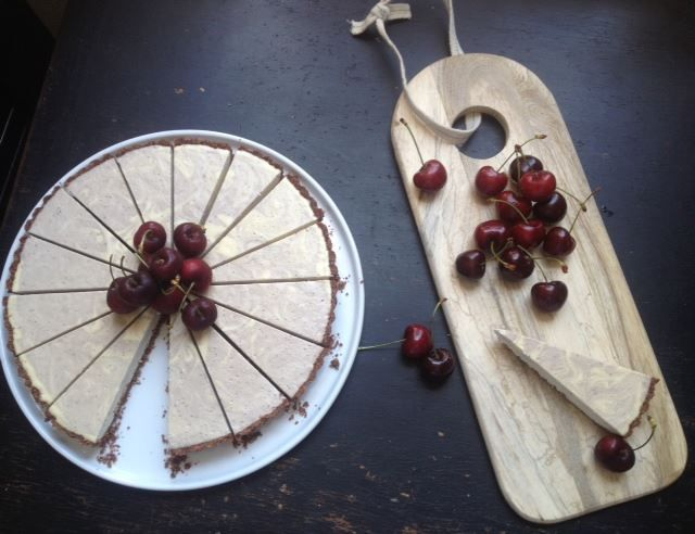 Raw vegan white choc & cherry marble tart