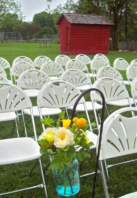 Hanging Jar Aisle Decor for outdoor farm wedding (in teal mason ball jar)
