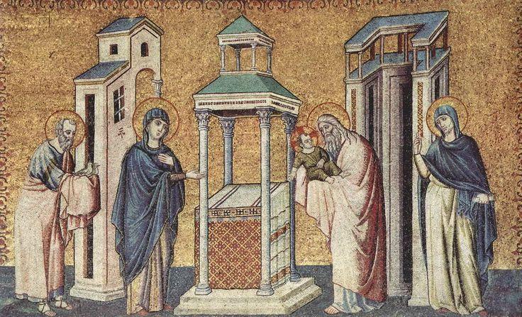 Пьетро Каваллини . «Цикл мозаик с шестью сценами из жизни Марии в церкви Санта Мария в Трастевере в Риме, Сретение». 1291 г.