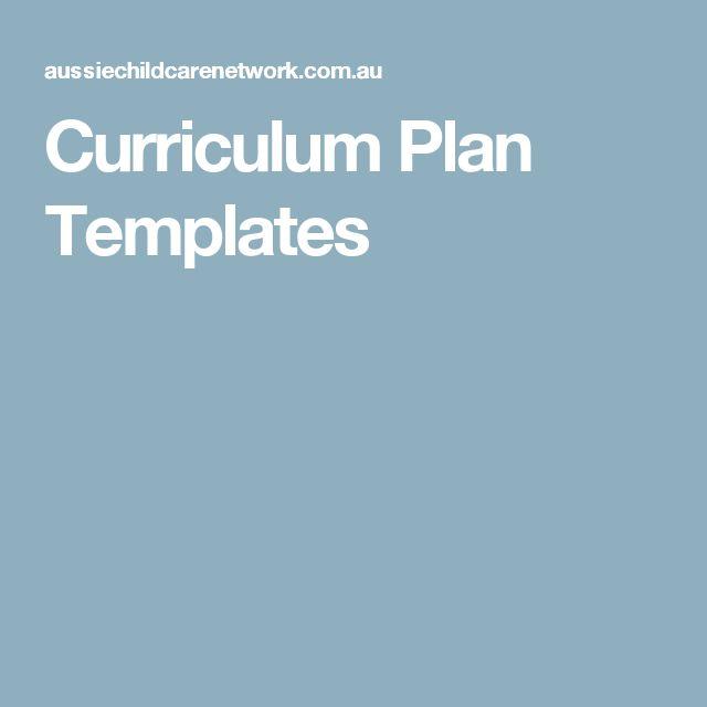 Curriculum Plan Templates