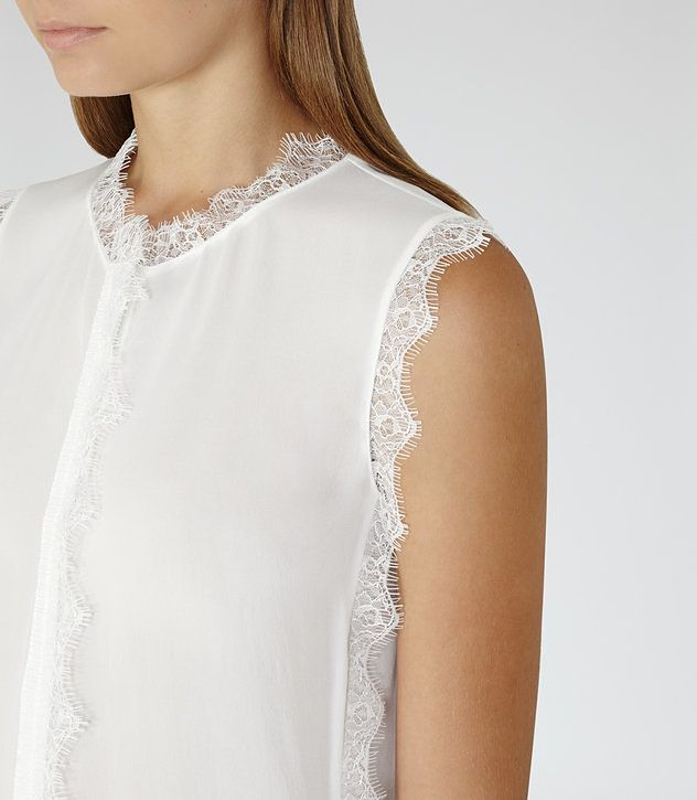 Jean Off White Lace-Trim Sleeveless Blouse - REISS