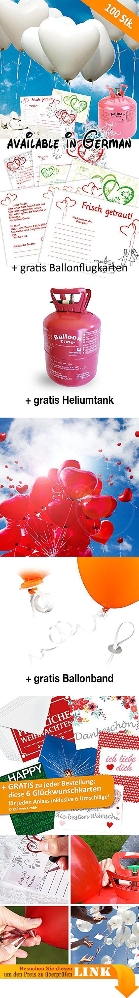100 Herzballons Hochzeit WEISS Komplettset: 100 Herzluftballons + Helium Einwegflasche + 100 Ballonflugkarten für Luftballons zur Hochzeit. Sie erhalten: 100x weiße Herz Luftballons zur Hochzeit (Ø ca. 30 cm XL, Flugdauer mit Flugkarte: ca. 6-10h), PORTOFREI als KOMPLETTSET mit Premium Heliumgas (Einwegflasche inkl. Ventil) + Ballonflugkarten zum Steigen lassen + 100x Ballonband Polyband + 100x Schnellverschlüsse (Kein Knoten mehr notwendig). Dann einfach Paket auspacken