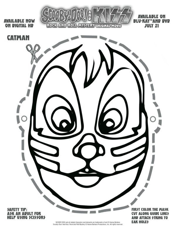 Free Printable Scooby Doo Kiss Catman Mask Halloween Printables Free Scooby Doo Scooby