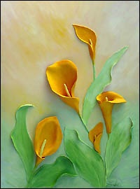 Wild Flower paintings of lillies, shooting star, magnolia, blue lobelia, poppey, blue eyed grass - Relief Painting Sculptures