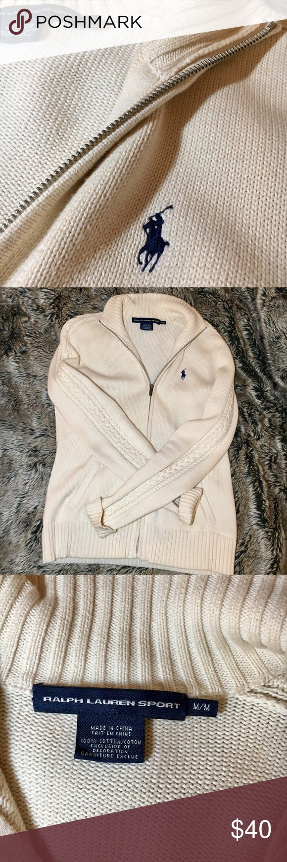 Ralph Lauren Sport Women's Zip-Up sweater Ralph Lauren Sport Women's Zip-Up sweater in a cream color. Size M. A little discoloration from jeans on the inside bottom but you can't see it when it's being worn :) Ralph Lauren Sweaters Cardigans