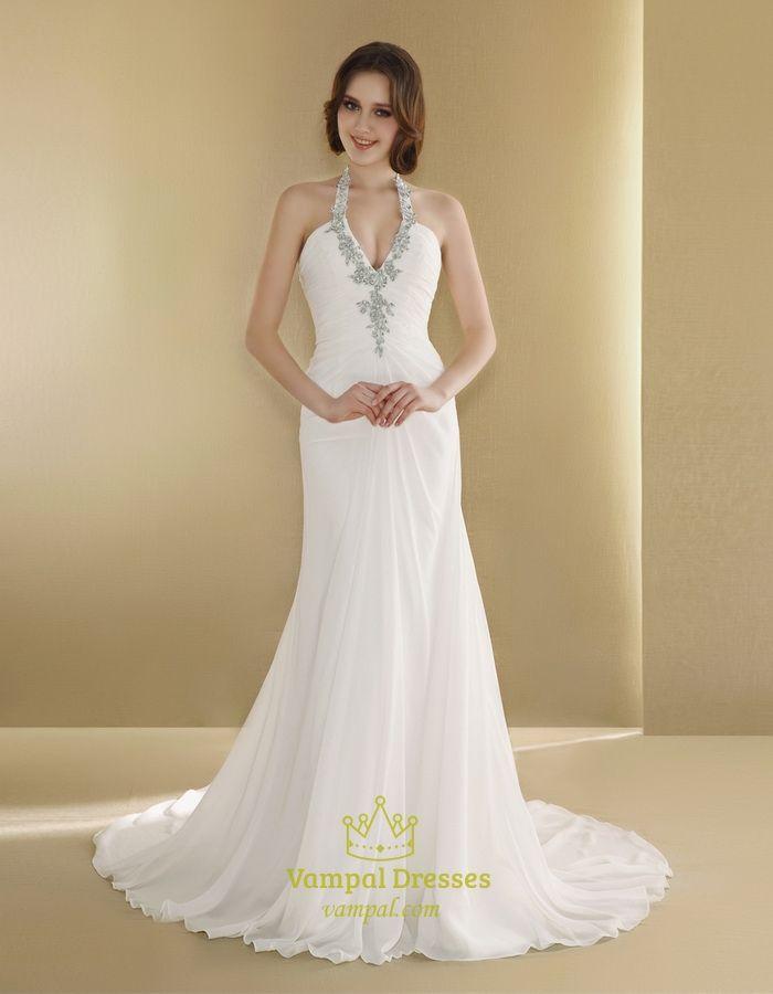 Halter Wedding Dress With Long Train,Simple Halter Neck Wedding Dresses