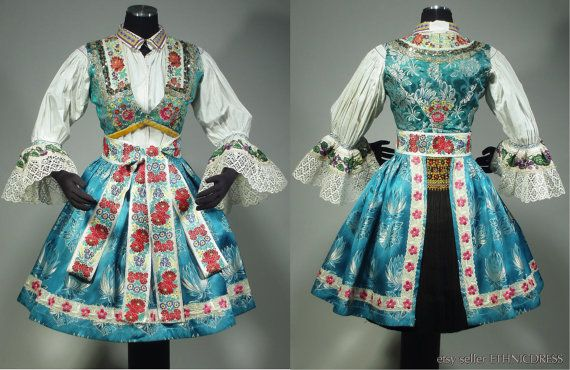 Complete Woman's Czech Folk Costume from around Uhersky Brod MORAVIA - embroidered blouse | brocade apron | beaded vest | pleated skirt KROJ
