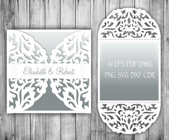 4x4'' Wedding Invitation Card / envelope laser cut template. Cricut/ Silhouette Cameo от NarisariDigitalArt