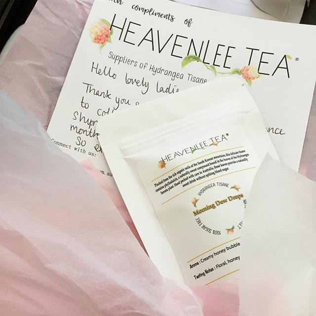 """This little beauty is on it's way to be transformed by the talented sisters & creators of Teatini. """" When teatime meets happy hour, magic happens."""" We're so excited to see what they can come up with. Head to @teatini__ for gorgeous cocktail recipes and overlay photos. 🍃🍸🍹🍸🍃 #heavenleetea #teatini #cocktails #happyhour #handcrafted #magic #hydrangeatisane #naturallysweet #sugarfree #collaboration #teatime #teaddict #tealover"""
