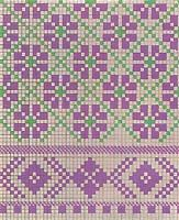Another simple allover pattern from a Latvian mitten in 3 colors.  Somewhat difficult to execute.