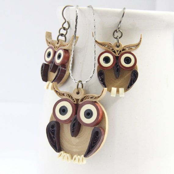 Brown Owl Earrings and Pendant Set Eco Friendly Fall Fashion Handmade by Paper Quilling Artisan Jewelry