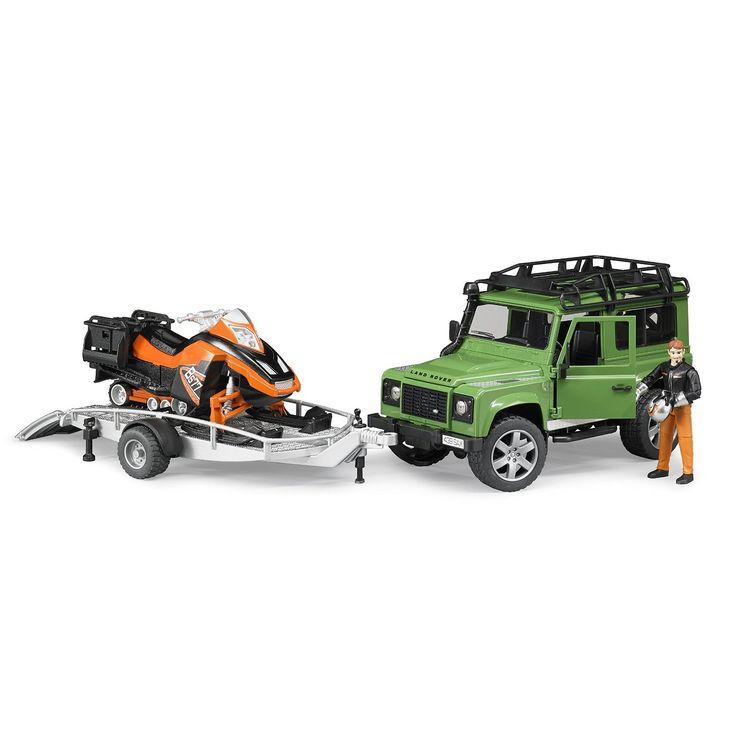 Masina Bruder, Land Rover Defender cu remorca, cu snowmobil + sofer Bruder 2594