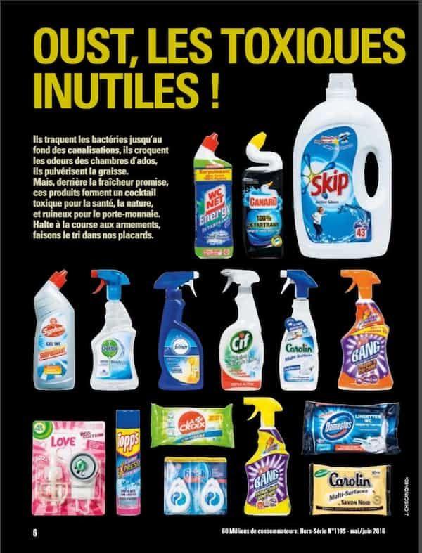 Liste des produits ménagers toxiques de 60 millions de consommateurs