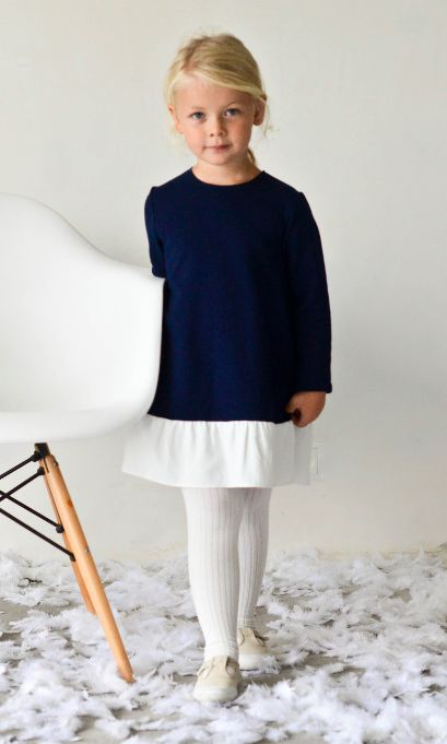 FRILL dress navy blue - G i r l s