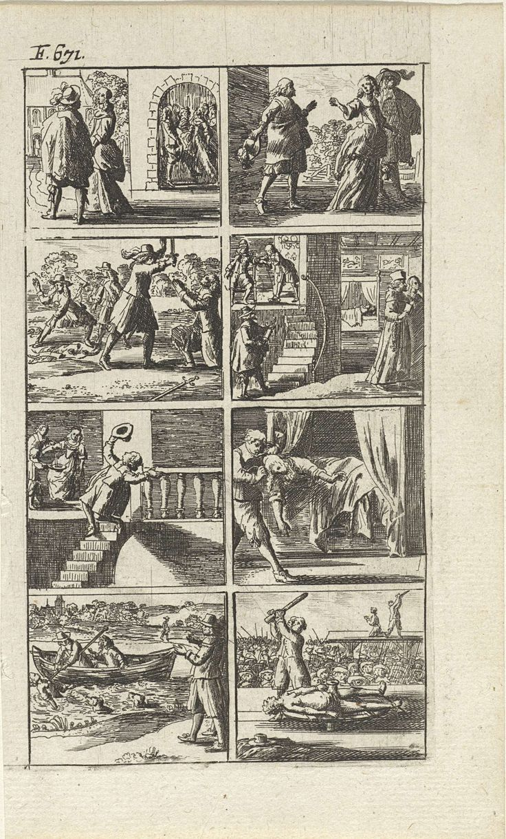 Abraham Dircksz Santvoort | Verhaal met voorstellingen van moord en doodstraf (F. 671.), Abraham Dircksz Santvoort, Gerrit van Goedesberg, 1667 | Verhaal in acht scènes met enkele voorstellingen van moord en doodstraf. Onder andere van een vechtpartij op een open plek in het bos, van een man die van de trap valt, van een dode vrouw in een bed en van een lijk dat uit het water wordt gehaald. Rechtsonder wordt een persoon geradbraakt en een man in de verte onthoofd. Linksboven: F. 671.
