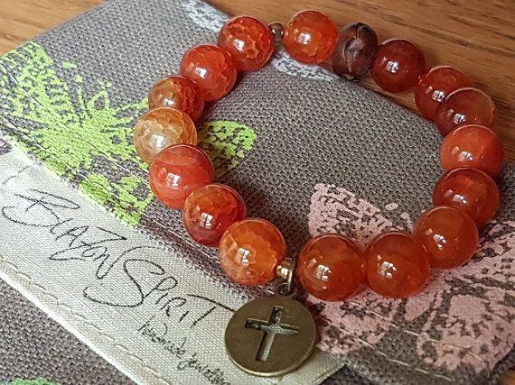 Stacking Bracelet Semi-precious Fire Agate Amber by BlazonSpirit