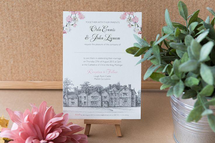 Romantic pink, black and white wedding invitations