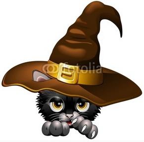 Aww! Cute #Halloween #Black #Kitten #with #Witch #Hat ♥◠‿◠♥ © bluedarkat