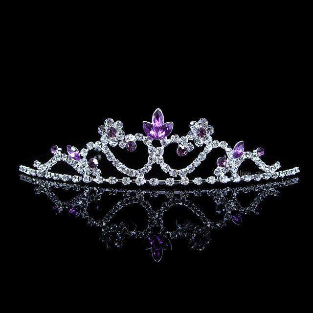 Kids Purple Flower Children Wedding Prom Tiara Crown Headband Kid Size