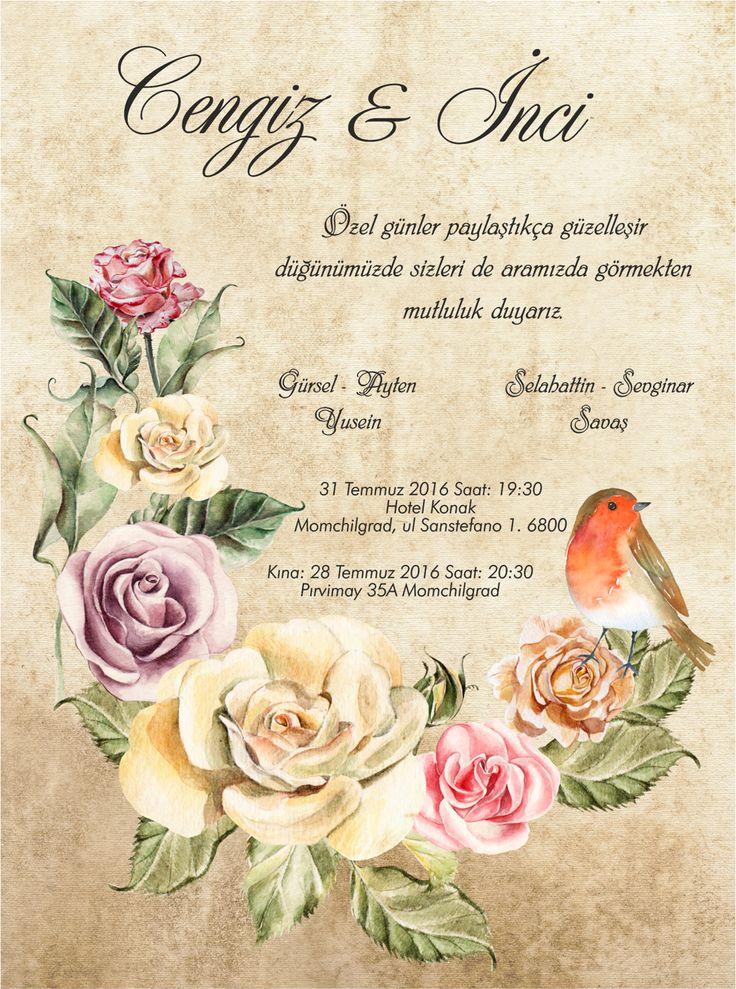 Vintage wedding card özel davetiyelerimiz kişiye özeltasarımlar