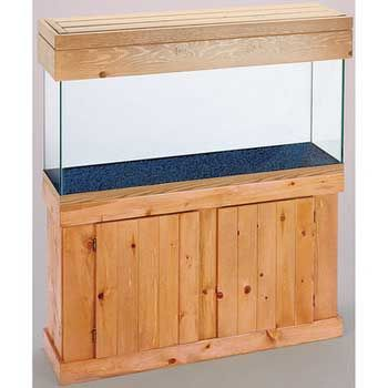 Pine Aquarium Cabinet Oak 48x18, All Glass Aquarium -- These quality pine stands and canopies are constructed entirely of solid wood. Each stand and canopy is stained and finished with a waterproofing sealer that will protect them from splashes and other water damage. Canopies are available with full length doors that allow easy access to the aquarium top.