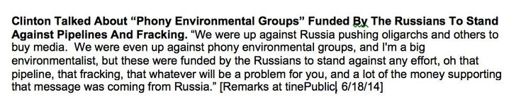 Clinton in secret speech: Anti-fracking and environmental groups are a Russian plot https://wikileaks.org/podesta-emails/emailid/927#attachments … (see email attachment) ....  WikiLeaks ‏@wikileaks