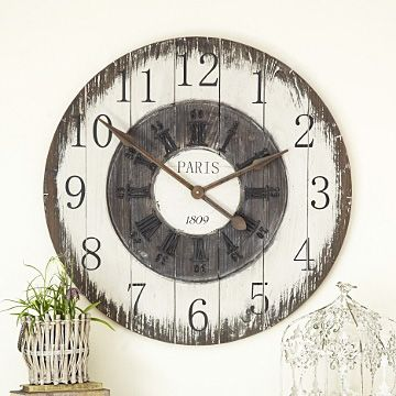 Awesome Large French Style Wooden Wall Clock   Charcoal U0026 White