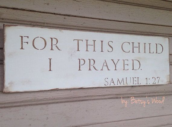 For This Child I Prayed (cream) // Samuel 1:27 Bible verse Neutral gender Boy Nursery Decor Christian rustic Baby Shower Gift present