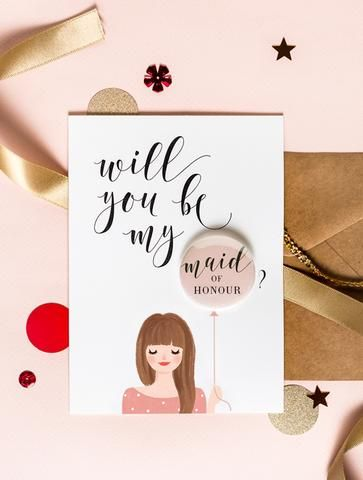 Will You Be My Bridesmaid Badge Card by 3 Eggs Design. Available in various hair styles and colours.