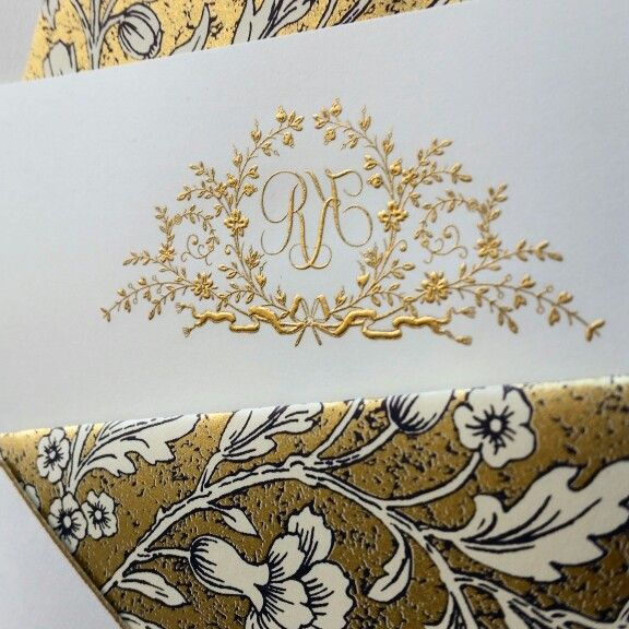 Engraved gold monogram and lined envelopes from The Grosvenor Stationery Company