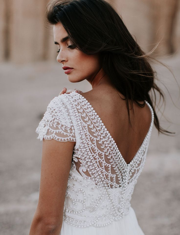 Bohemian + romantic wedding dress by Australian designer Anna Campbell